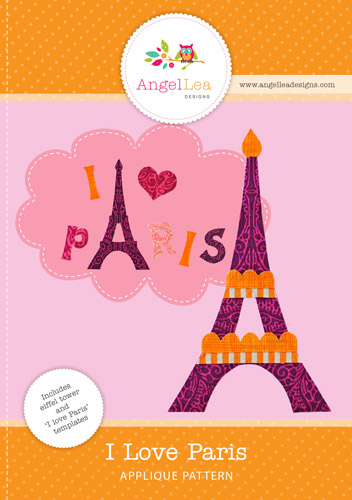 Eiffel Tower and I Love Paris Applique Template
