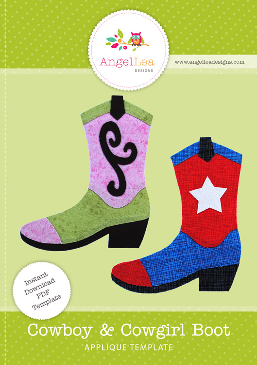 Cowboy and Cowgirl Boot Applique Template