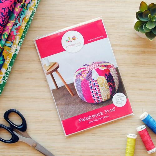 Patchwork Pouf Sewing Pattern - HARD COPY
