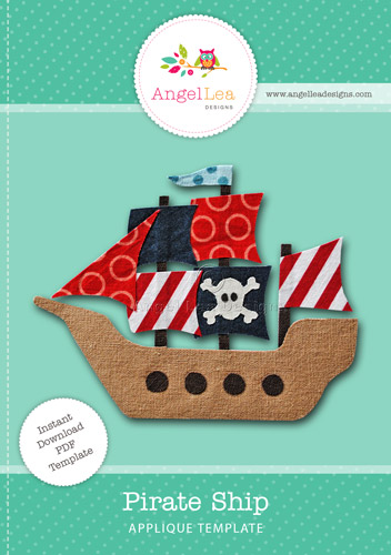 Sail boat applique template angel lea designs for Pirate ship sails template