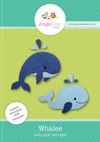 whales applique template angel lea designs