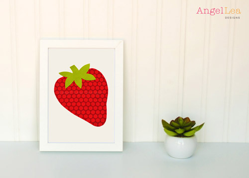 Strawberry applique template angel lea designs