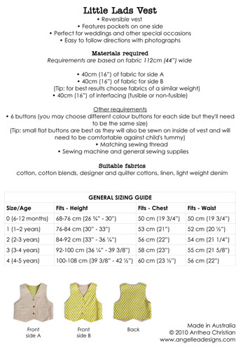 Little Lads Vest Sewing Pattern - HARD COPY - Angel Lea Designs