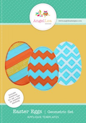 free easter eggs applique pattern geometric designs