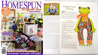 Homespun feature - Fergus the frog pattern